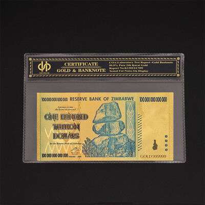 Zimbabwe 100 Trillion Dollar Currency Gold Banknote Collection With COA Frame