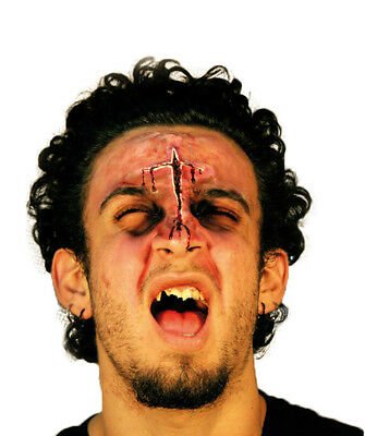 Face Wound Cross Cut Latex Scar Application Gruesome Halloween Horror
