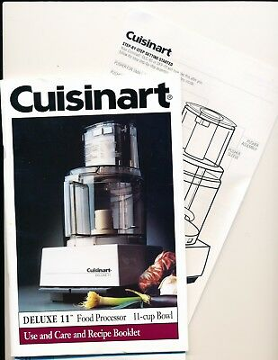 Cuisinart Deluxe 11 Food Processor Instruction & Recipe Booklet Manual DELIVERED