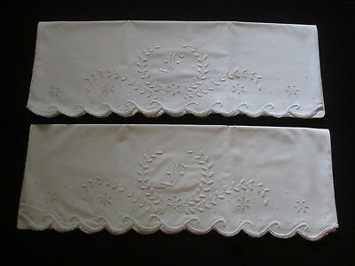 Pair Antique Vtg White Hand Embroidered Pillowcases Monogram Letter