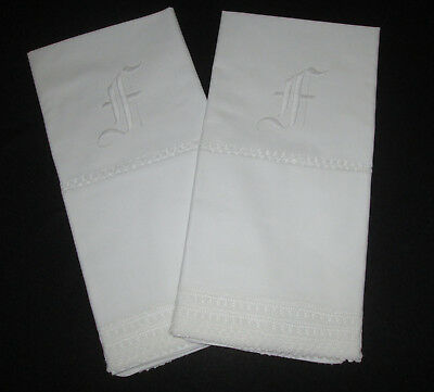 PAIR Antique White Hand Embroidered and Crochet Lace Pillowcases Monogram F #2