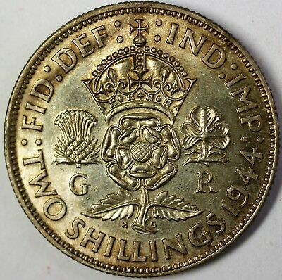 1944 United Kingdom Two Shillings Silver AU World War Two Coin