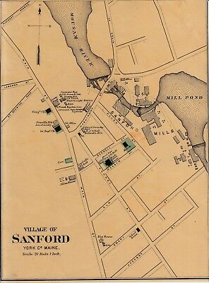 1888 Sanford Maine Map W Residents Place Names From Colby Atlas