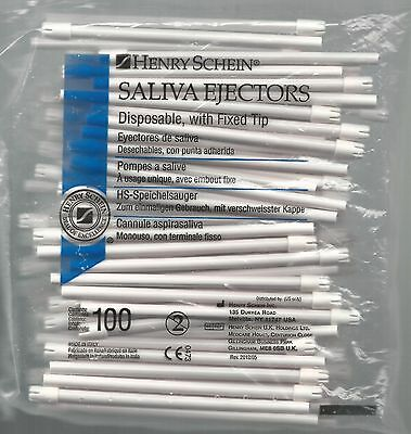 Henry Schein,Dental Disposable Saliva Ejectors with Fixed Tips, 100pcs,brand new