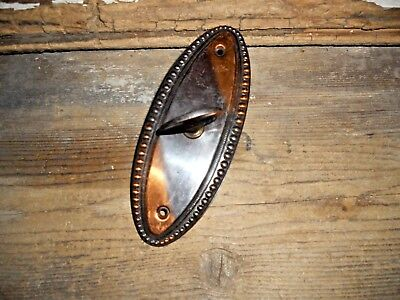 Vtg Oval Copper Flash Japanned Tiger Stripe Door Knob Back Plate & Thumb Latch