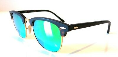 4189f269f3 Ray-Ban Clubmaster Matte Tortoise Frame GREEN Mirror Flash Lens RB3016 1145  19