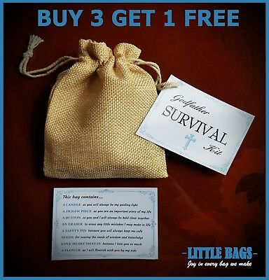Godfather Survival Kit Keepsake Thank You Gift Christening Godparents Gift Bag