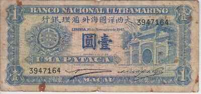 Macao Banknote P28-7164 1 Patacas 16.11.1945,  Oxydized, VG-F