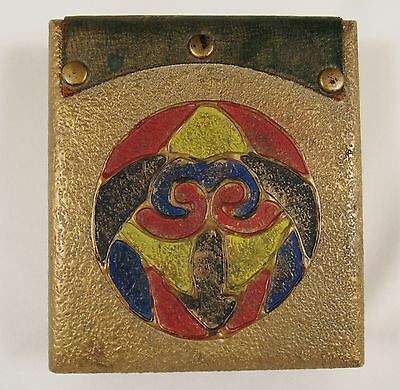 Antique SCARAB Arts & Crafts Hand Painted Gesso Wood Jewelry Trinket Box