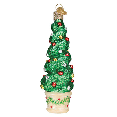 """""""Holiday Topiary"""" (48040)X Old World Christmas Glass Ornament w/ OWC Box"""