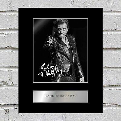 Johnny Hallyday Signed Mounted Photo Display