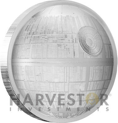 2018 Star Wars Death Star - Ultra High Relief - 2 Oz. Silver Curved Coin - W/ogp