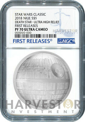Star Wars Death Star Ultra High Relief - 2 Oz. Coin - Ngc Pf70 First Releases