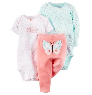 b57872e4c Carter's Baby Girl 3Pc Daddy's Princess Bodysuits Legging Set 12M 18M Outfit