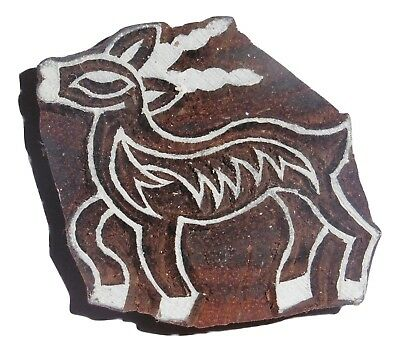 Antelope 6.2 x 5.5 cm Indian Hand Carved Wooden Printing Block Stamp