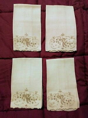 """4 Beautiful Matching Madeira Embroidered  Linen Hand Towels 16"""" by 11"""""""