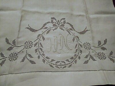 """Amazing Appenzell / Madeira Punchwork & embroidered Linen Bath Towel 49"""" by 24"""""""