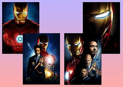 Marvel: IRON MAN Movie robert downey jr,  A5 A4 A3 Textless Film Posters