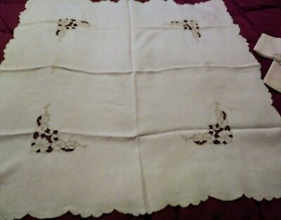 "Madeira Cutwork and Embroidered Tablecloth 43 1/3"" by 34"" - 4 Napkins 10 1/3"""