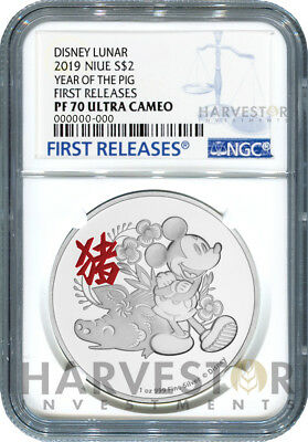 2019 Disney Lunar - Year Of The Pig - Ngc Pf70 First Releases - W/ogp