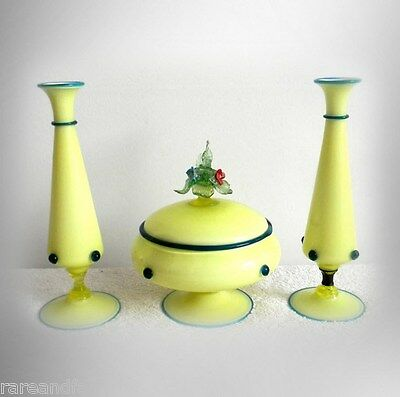 Venetian console set - center lidded bowl and two candle holders