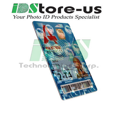 Full Color Custom Printed ID cards, PVC, w/ Globes Holographic Overlay Varnish
