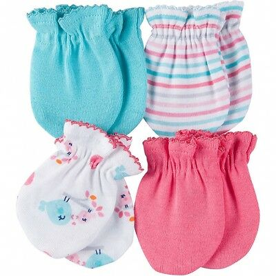 Gerber Baby Girls 4 Pack Mittens NEW Size 0-3 Months Adorable