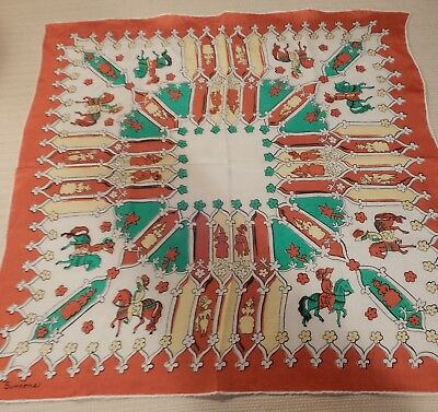 Beautiful vintage rust red & teal blue ladies medieval court scarf by Simone