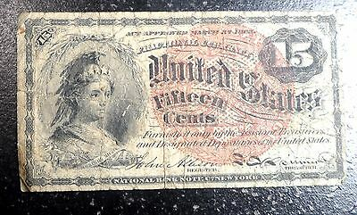 Nice Rare 15c Fractional Note 1869 1875 Unwatermarked FR-1258 BV $300