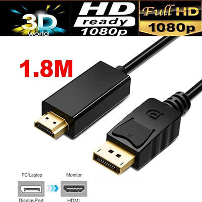 Displayport Display Port DP to HDMI Cable Male to Male Full HD High Speed 1.8M