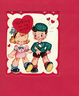 0118Eh VTG A-MERI-CARD VALENTINE CARD BOY  GIRL HAND IN HAND SWEET COUPLE IN LUV