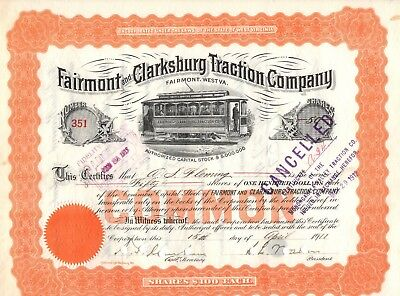 """""""rare"""" - Fairmont And Clarksburg Traction  Company -  Stock Certificate - 1911"""