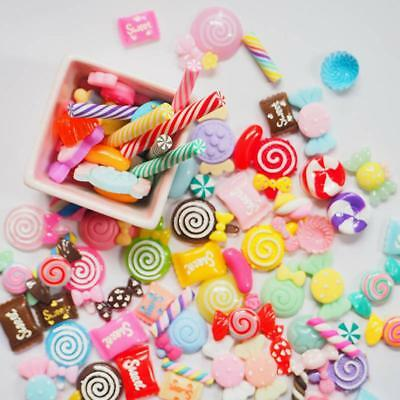 30/50/60/100 Pcs Slime Charms Mixed Resin Candy Sweets Beads Bead Making DIY