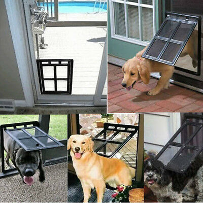Patio Pet Door Exterior Interior For Dogs Large Fly Screen Fit Easy Installation