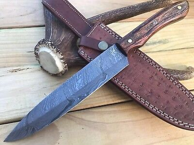 HUNTEX Custom Handmade Damascus 13 Inch Long Full Tang Walnut Kitchen Chef Knife