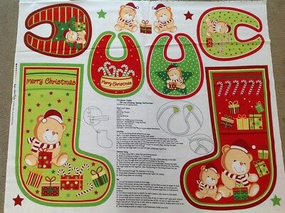 Print fabric (CHRISTMAS TEDDY-BIB AND STOCKING PANEL)  Per Metre