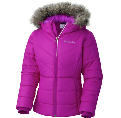 Columbia Girls Katelyn Crest Jacket Size 3T Hooded Insulated Winter Coat Plum