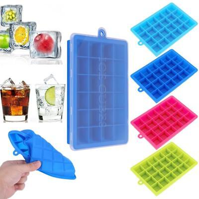 Silicone Square 24-Cavity Large Ice Cube Tray Maker Mold Mould Tray Pudding Tool