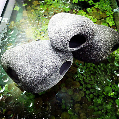 Ceramic Rock Cave Ornament Stones For Fish Tank Filtration Aquarium  I
