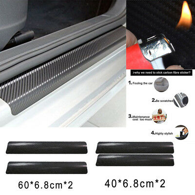 4X Car Door Carbon Fiber Stickers Sill Scuff Welcome Pedal Protect Accessories