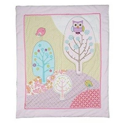 LOLLI LIVING POPPY SEED BABY COT ALL SEASONS QUILT BLANKET 100 x 120 cm owl