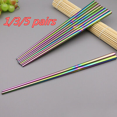 1~5 Steel Stainless Chopsticks Rainbow Chinese Chop Silver Tableware Christmas O
