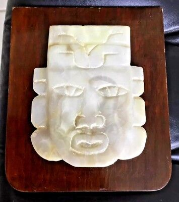 Mexican Handcarved Aztec Face Cream Onyx Face Mask Mounted On Wood To Hang/stand