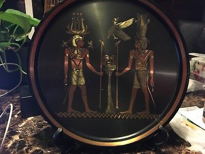 Vintage Handmade Ancient Egyptian Metal Hammered Plate w Stand-11.5'' Diameter