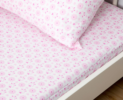 Living Textiles 2 Piece Cot Sheet Set Fitted Sheet & Pillowcase - Pink Hearts