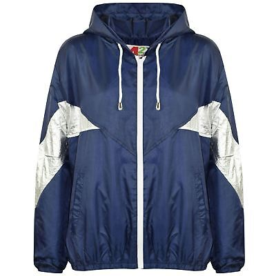 Kids Girls Boys Windbreaker Jackets Block Contrast Hooded Navy Cagoule Raincoats