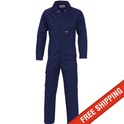 DNC workwear Mens Cotton Drill Coverall Overalls Safety Tradie Mechanic - Navy