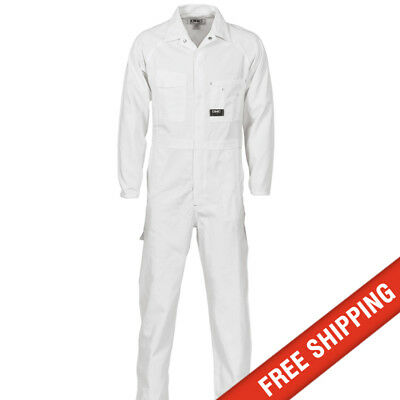 DNC workwear Mens Cotton Drill Coverall Overalls Safety Tradie Mechanic - White