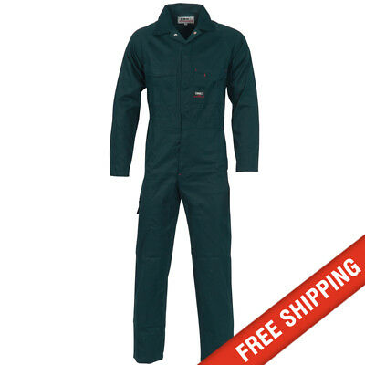 DNC workwear Mens Cotton Drill Coverall Overalls Safety Tradie Mechanic - Green