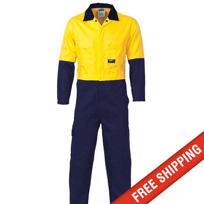 3 x Overalls DNC Workwear Mens Hi Vis 2 Tone 100% Cotton Coverall - Yellow/Navy